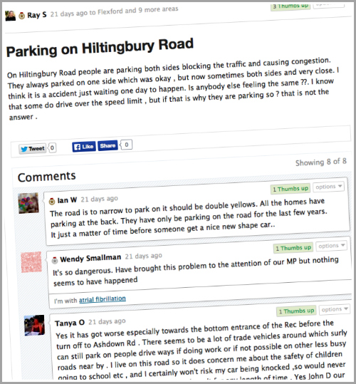 Parking problem on Hiltingbury Road, Chandler's Ford, is being discussed on Streetlife.