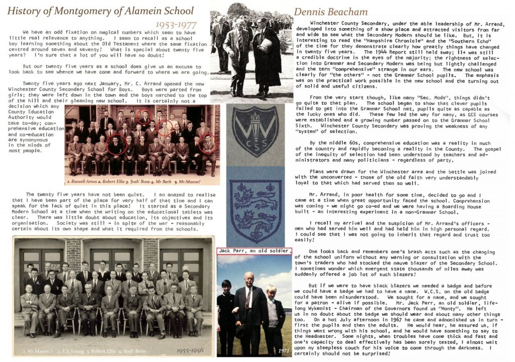 Part 1: History of Montgomery of Alamein School by former headteacher Mr Beacham. Image credit: Michael Burford.