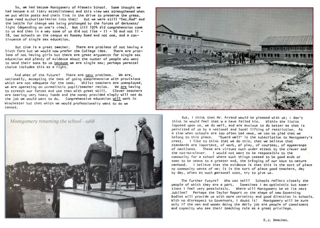Part 2: History of Montgomery of Alamein School by former headteacher Mr Beacham. Image credit: Michael Burford.