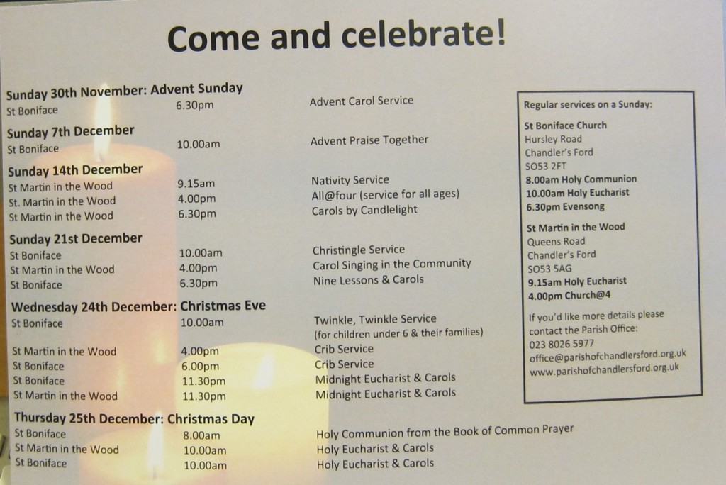 Advent and Christmas Services in the Parish of Chandler's Ford 2014