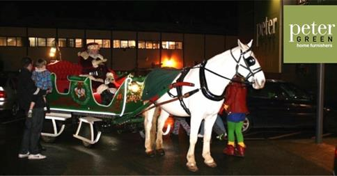 Santa's sleigh at Peter Green in Chandler's Ford.