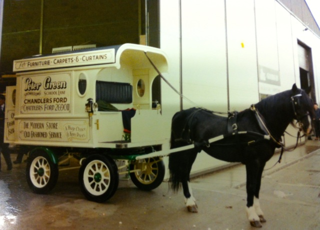 This is the carriage that did deliveries to nearby homes 32 years ago. It was retired about 5 years ago. Peter Green wants to build another one and start again.
