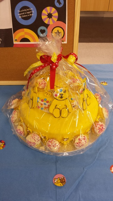 Pudsey Cake - for Children in Need. Fundraising at Asda Easeleigh.