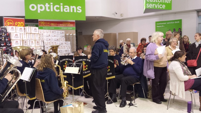 Chandler's Ford Churches Together - carol singing at Asda Eastleigh on 16th December 2014.