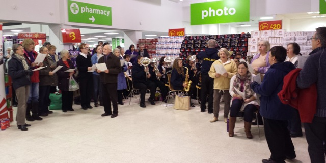 Chandler's Ford Churches Together - carol singing at Asda Eastleigh on 15th December 2014.