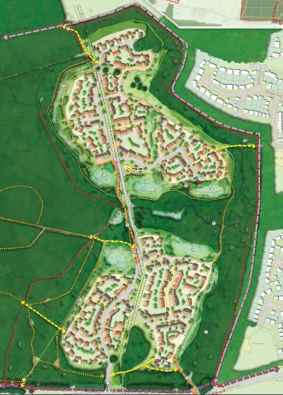 Land off Castle Lane : The proposed masterplan for the residential element of the scheme.