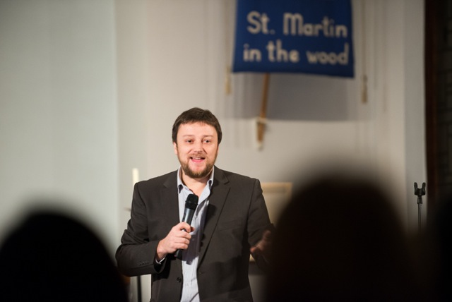 Comedian James Sherwood. Performing on 13 Dec 14 at St. Martin in the Wood Church, Chandler's Ford.