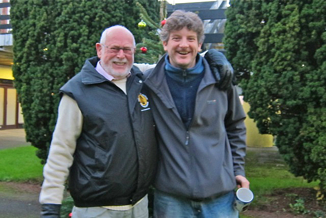 Keith Medley (left) maintains Central Precinct for 52 years, with Daniel Mulcahy, who organised the lovely Central Precinct Christmas get-together.