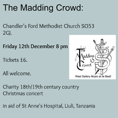 The Madding Crowd will be performing at Chandler's Ford Methodist Church on 12th December 14.