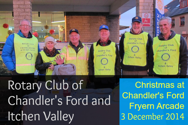 Rotary Chandler's Ford and Itchen Valley: first arrivals at Fryern Arcade Christmas event.