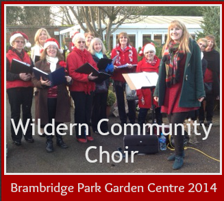 Wildern community choir sang Christmas Carols at Brambridge Park Garden Centre.