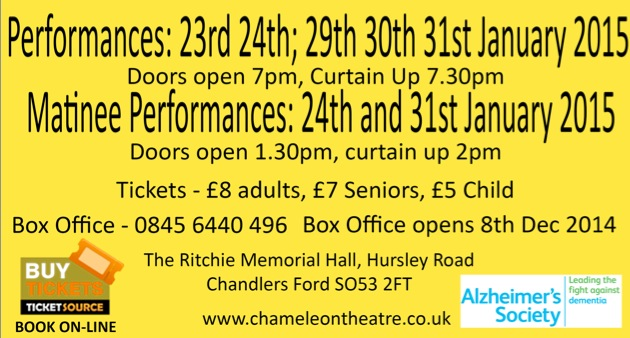 Buy tickets now for the Wizard of Oz by the Chameleons in Chandler's Ford, January 2015.