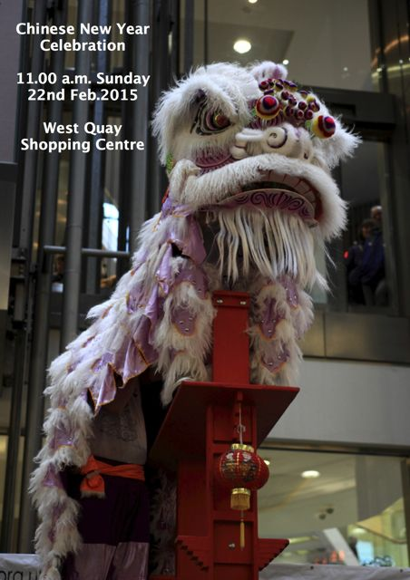 Celebrate Chinese New Year in Southampton: 22 Feb 2015 from 11am - 1pm at West Quay shopping centre.
