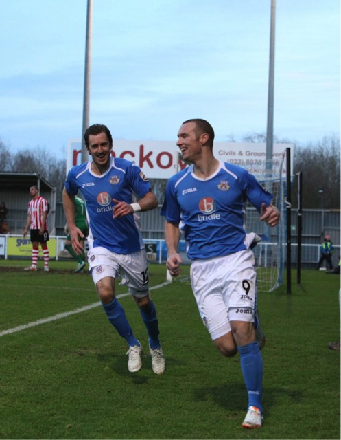 Jack Midson joins James Constable's celebration for Eastleigh's 2nd goal of the afternoon.