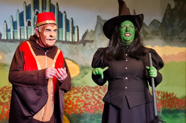 The evil witch (looking serious) and one of the monkeys.The Wizard of Oz cast, by Chandler's Ford Chameleon Theatre Company - January 2015 Pantomime.