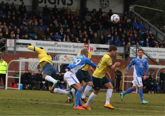 No 29 Deon Burton causing problems in Torquay's area Eastleigh FC.