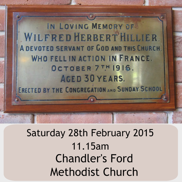 A restored plaque at the Dovetail Centre in Chandler's Ford Methodist Church: remembering Wilfred Herbert Hillier.