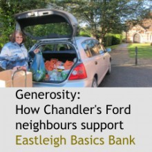 Eastleigh Basics Bank generosity: Chandler's Ford people support Eastleigh Basics Bank.