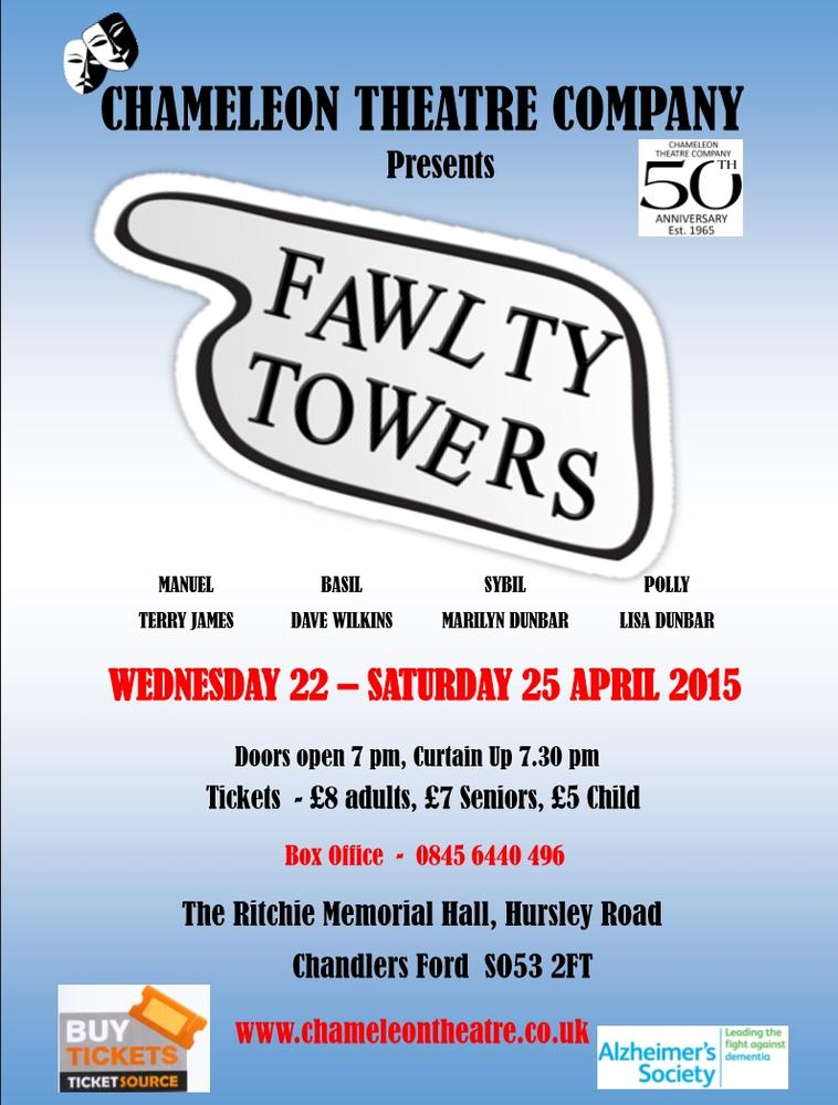 Fawlty Towers - 22nd to 25th April 2015 by the Chameleon Theatre Company.