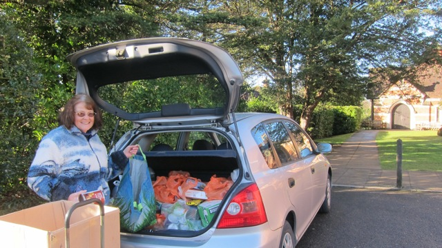 Hazel delivers generously donated food and household products from Chandler's Ford to Eastleigh Basics Bank each week.