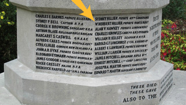 You'll find the name of Wilfred Herbert Hillier on Chandler's Ford War Memorial, St. Boniface Church, Hursley Road.