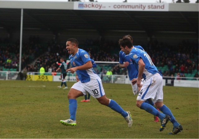 Reason celebrates his wonder strike and Eastleigh's third goal. Eastleigh 4 Macclesfield Town 0; 12:45 Saturday February 28th 2015
