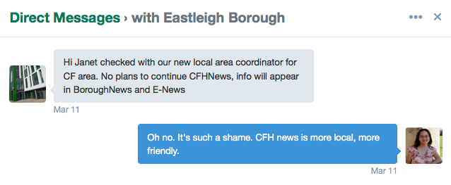 Eastleigh Borough Council has stopped issuing  CFH News for Chandler's Ford and Hiltingbury.