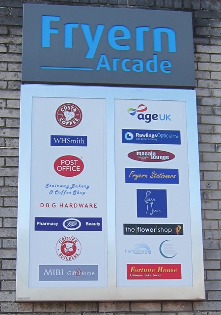 New signboard for the Fryern Arcade, Chandler's Ford.