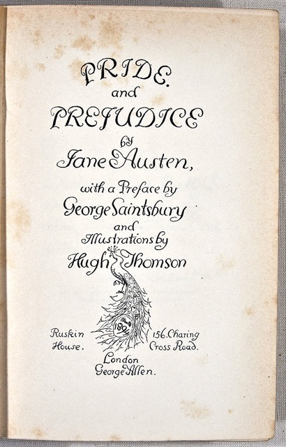 Title page of Pride and Prejudice, Jane Austen. London: George Allen, 1894.