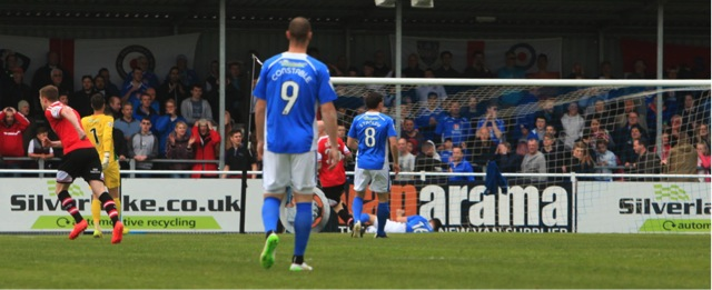 Kidderminster open the scoring in the first minute.