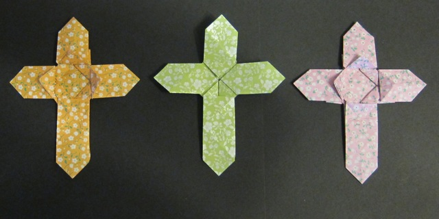 Origami cross: designed by Matthew Green, folded by Janet Williams.