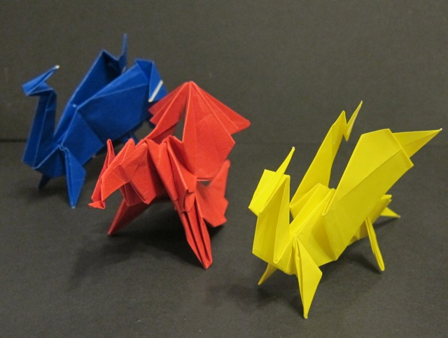 Origami dragons folded by Janet.