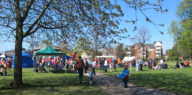 Glorious day: Visitors enjoyed St George celebration day in Eastleigh.