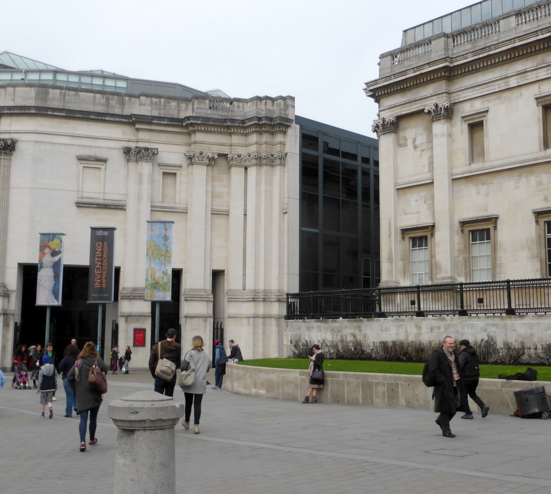 Sainsbury Wing of the National Gallery separated from the main building by the dark alley of Jubilee Walk