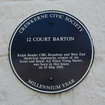 "Ralph Reader CBE - 12 Court Barton – Blue Plaque. Image by <a href=""http://commons.wikimedia.org/wiki/File:12_Court_Barton_-_Blue_Plaque_-_geograph.org.uk_-_895134.jpg#/media/File:12_Court_Barton_-_Blue_Plaque_-_geograph.org.uk_-_895134.jpg""> Sarah Smith</a> via Wikimedia."