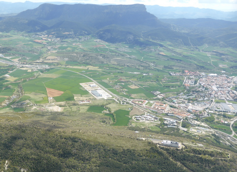 The town of Jaca, pronounced Haka. We landed near the rectangular supermarket, centre.