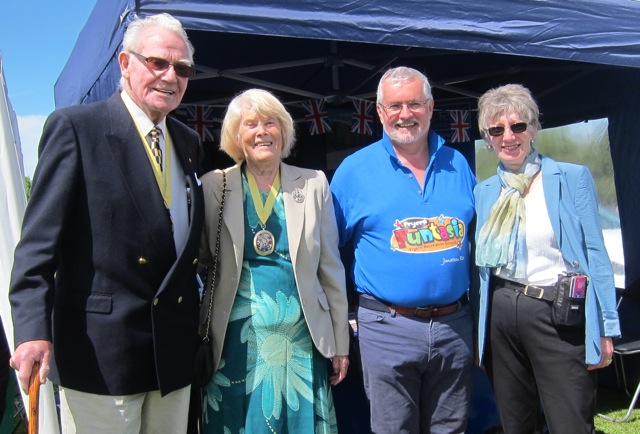 Deputy Mayor of Eastleigh, Councillor Jane Welsh, with her escort Len Welsh, Margaret Atkinson,  Chairman of Parish Council of Chandler's Ford, and Jonathan Rees.