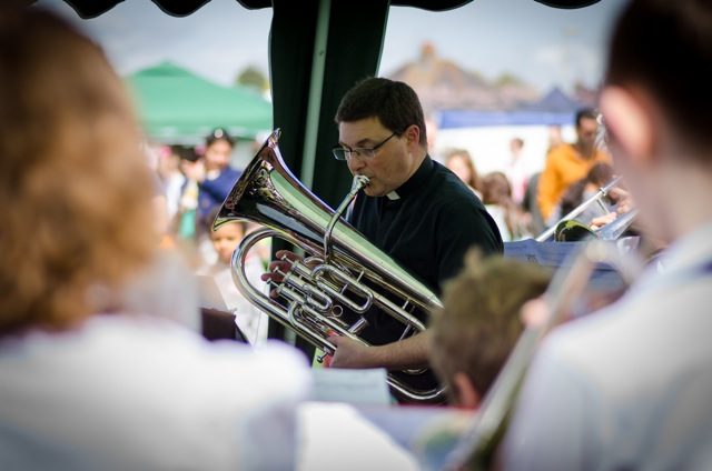 Simon Farrenden and his Chandler's Ford Brass Band. Rev. Peter Cornick playing euphonium. Image: Alan Fry.