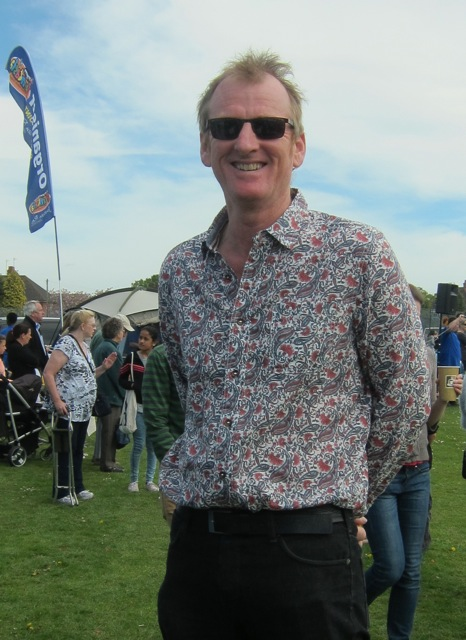 Councillor James Foulds wear Fairtrade shirt with style. Chandler's Ford Fryern Funtasia 4th May 2015.