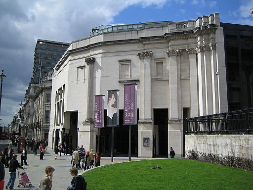Dark entrance and pseudo-windows of the Sainsbury Wing of the National Gallery.