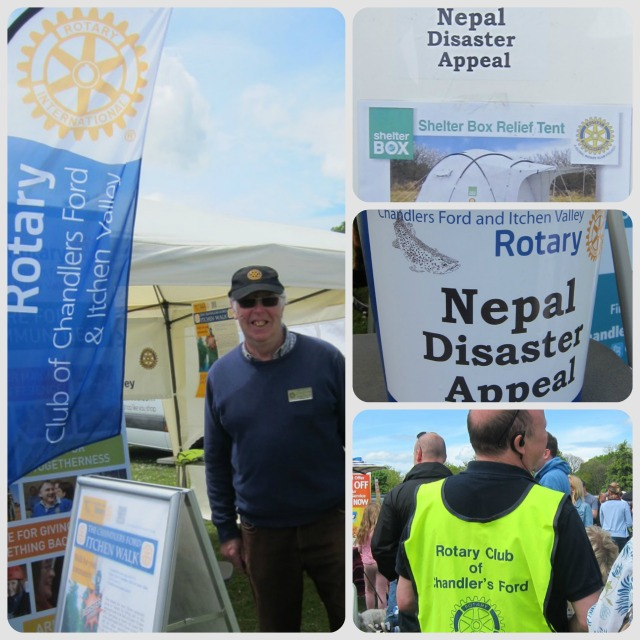 Left: Rotary Club of Chandler's Ford and Itchen Valley - raising money for Nepal Disaster Appeal. Left: President Bob Jordan.