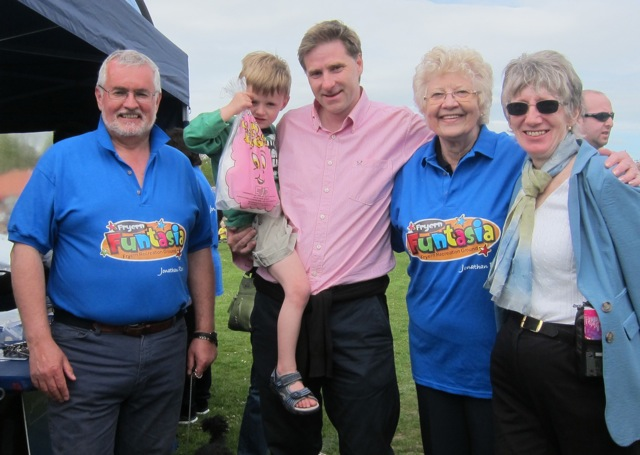 MP Steve Brine at Fryern Funtasia. With Jonathan Rees, Councillor Margaret Atkinson, and Councillor Zandra Simmonds.