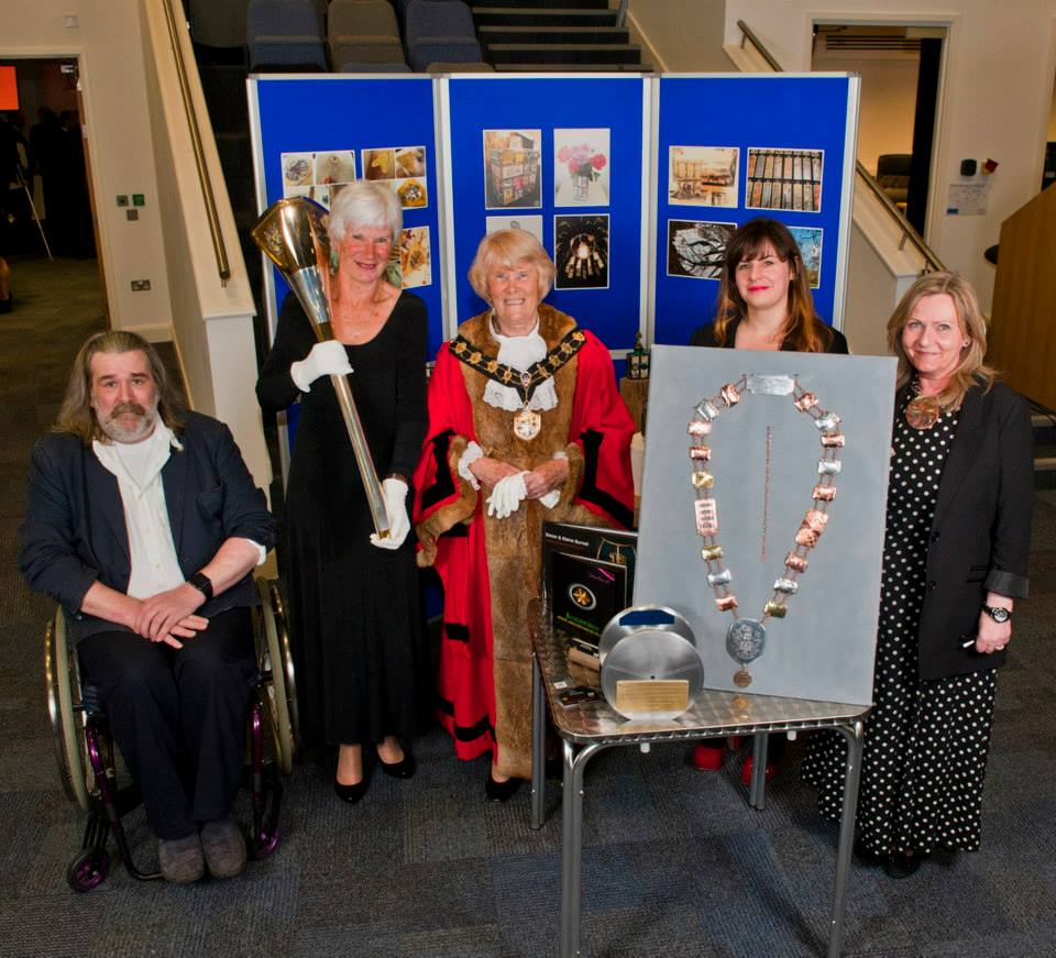 Artists Simon Burnell (left), Elaine Burnell (right), Carly Mann (second from rifht), with Mayor of Eastleigh Councillor Jane Welsh. ©Chris Balcombe