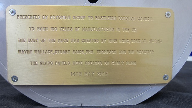 plaque about Eastleigh Mayor's mace
