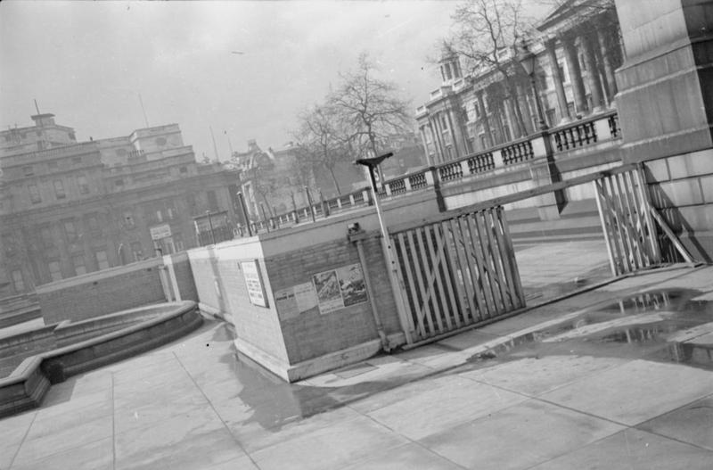 "A view of the surface shelters in Trafalgar Square, London. <a href=""http://iwm.org.uk/collections/item/object/205198130""> © IWM (D 2775) </a>"