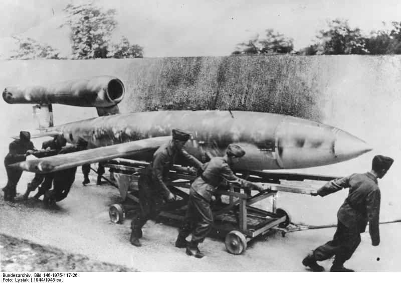 "Bundesarchiv, Bild 146-1975-117-26 / Lysiak / CC-BY-SA. Image via <a href=""https://commons.wikimedia.org/wiki/File:Bundesarchiv_Bild_146-1975-117-26,_Marschflugk%C3%B6rper_V1_vor_Start.jpg#filehistory"">Wikimedia Commons</a>."