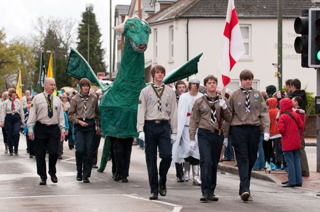 St. George's Day Parade 2012, Winchester Road, Chandler's Ford. Image credit: Nigel Barker.