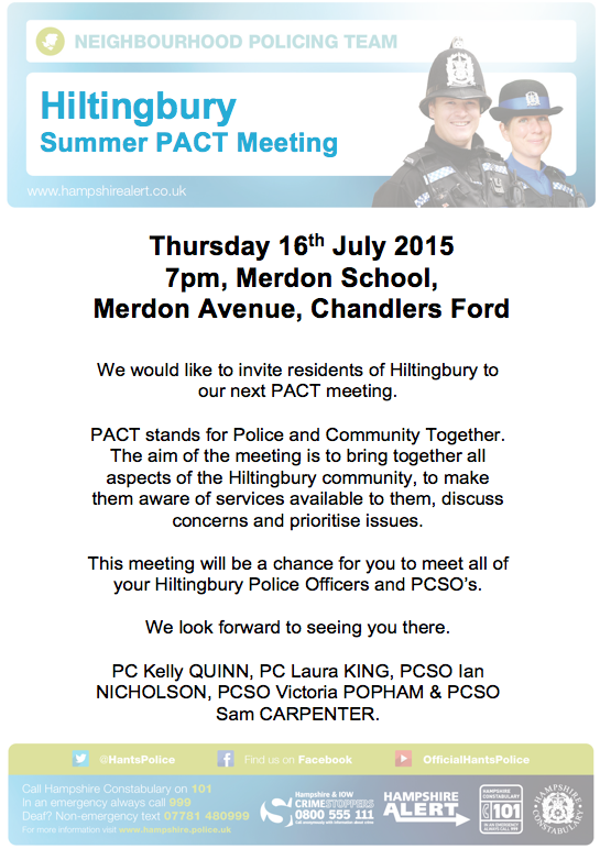 PACT meeting 16 July 2015 Merdon Junior School Chandler's Ford