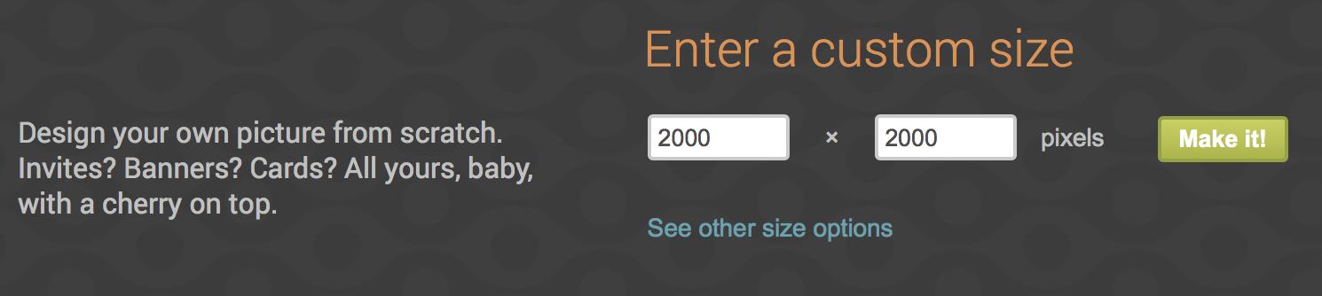 PicMonkey 3 Enter a Custome size 240 x 240 pixel Make It