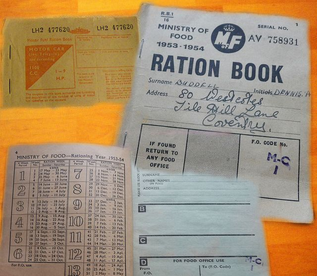 "Ration Book Coventry by <a href=""https://www.flickr.com/photos/iancvt55/8386647497/in/photolist-dM6L7D-5V9HJq-drhbNy-51s9MQ-drgVfy-5V5kDR-5V5kFR-21wMwh-hpoRHH-4BxN1M-4BC5uA-4BxMXP-4BC5eG-5V9HyA-5V9Hr3-5V9Ht7-5V9HCo-5V9HNu-78jv3Q-5V9HLq-5V9HFf-78jwyG-78fEhT-78jxco-78jvSW-dMrD5f-cpX6d-jW3moB-63s2HM-63wibA-ctYT3m-HrwjX-21wMwN-21wMxm-dTAZHQ-5c9Qqc-8mj73w-8mj7Bw-8mj92f-8mfXfZ-8mfY56-8mfYvB-8mj6Vs-8mjakU-8mg2Yn-bVdbq5-bVdbsm-cbocGu-cbo2Go-cbocPJ""> Ian Halsey</a> via Flickr."